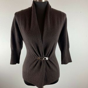 Neiman Marcus Cashmere Collection Cardigan Brown